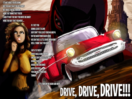 Drive Lyric Sheet - Artwork © Héctor Bustamante. All Rights Reserved