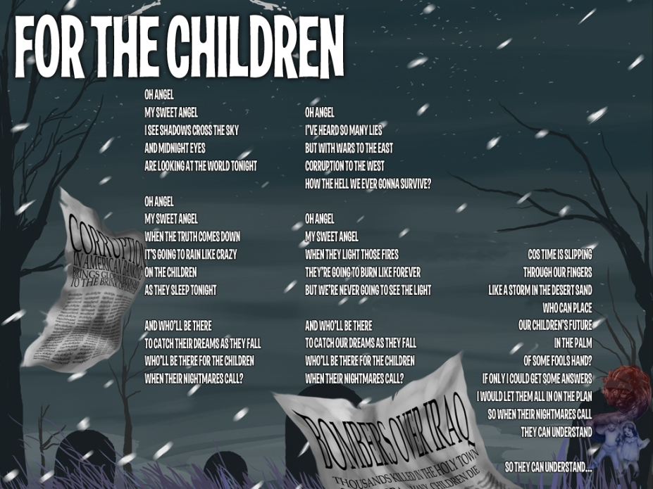 For The Children Lyric Sheet - Artwork © Héctor Bustamante. All Rights Reserved