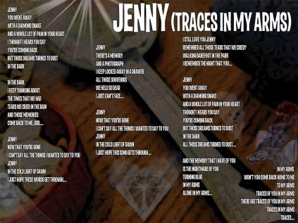 Jenny Lyric Sheet - Artwork © Wily Bo Walker. All Rights Reserved