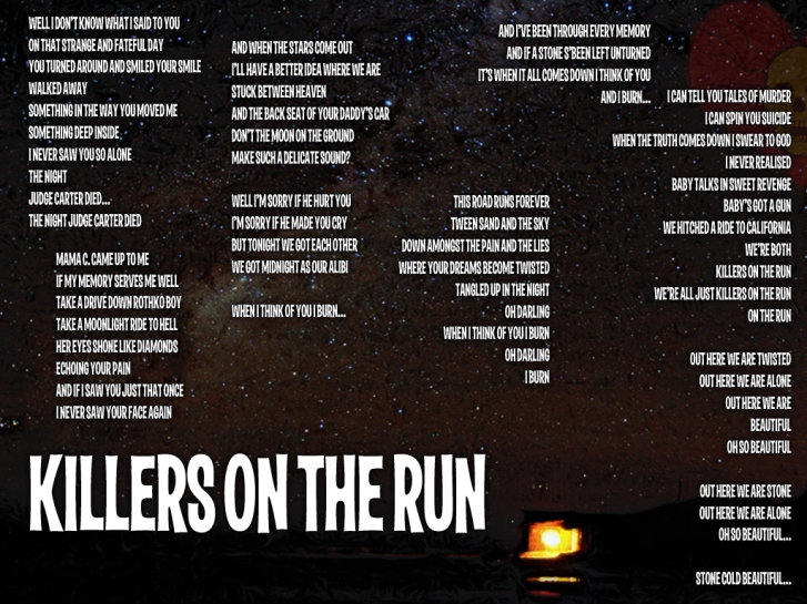 Killers on the Run Lyric Sheet - Artwork © Wily Bo Walker. All Rights Reserved