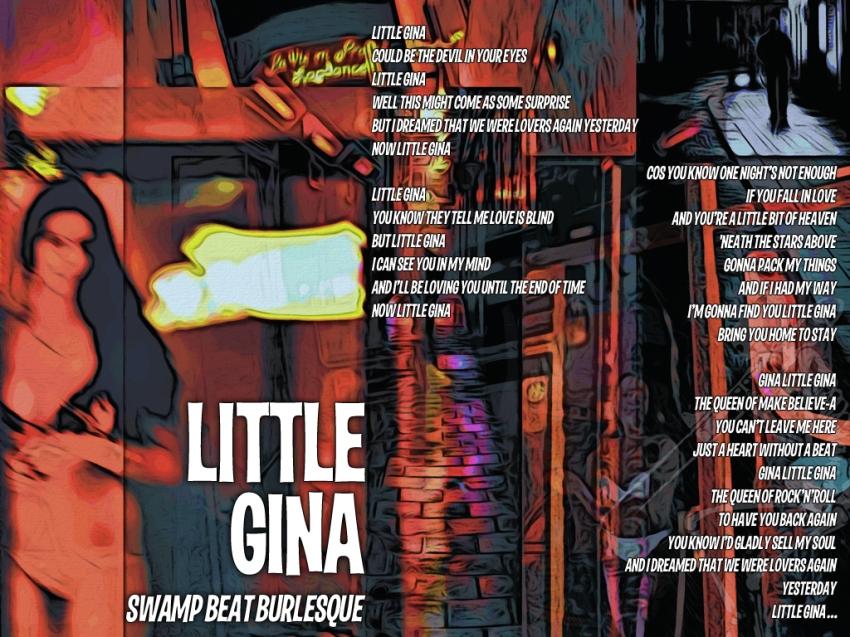 Little Gina (Swamp Beat Burlesque) Lyric Sheet - Artwork © Wily Bo Walker. All Rights Reserved
