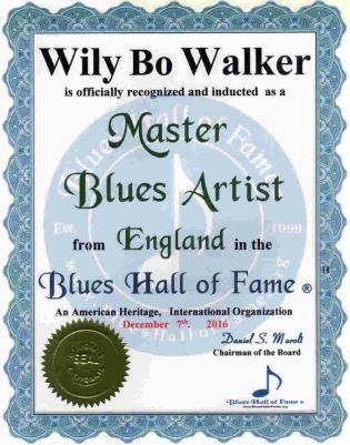 Blues Hall of Fame Induction Certificate