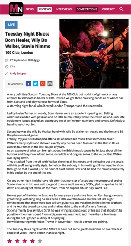 The Wily Bo Walker Band 'Live' at The 100Club - Music News Review