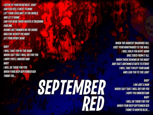 September Red Lyric Sheet - Artwork © Wily Bo Walker. All Rights Reserved