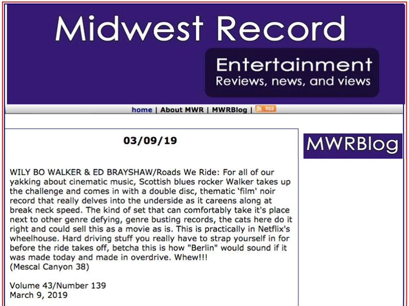 MidWest Record Review of TRWR March 2019